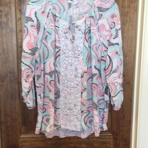 Crown and Ivy mint and pink peasant top XL